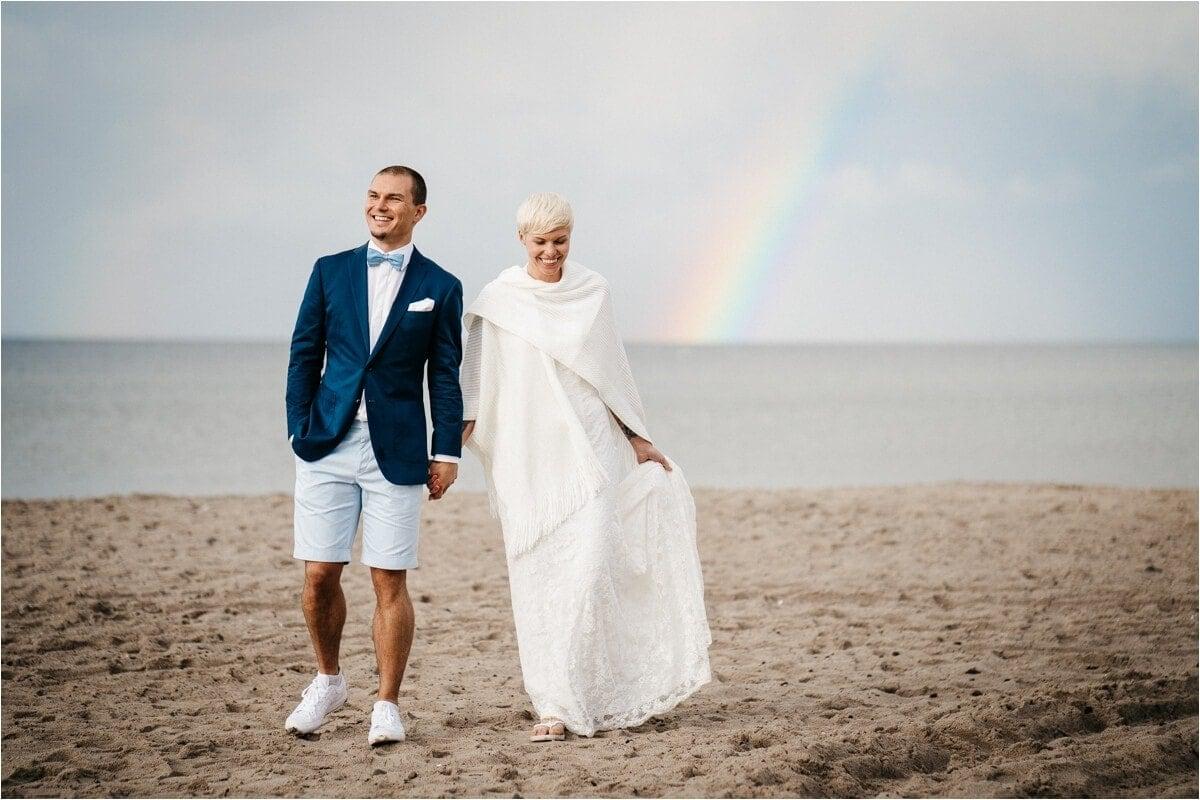 Strandhochzeit mit Regenbogen